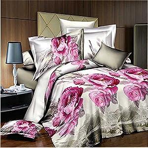 Home TextilePink Flower Comforter Set Queen Size,Sexy Roses Marilyn Monroe  Bedding Sets,Marilyn Monroe Bedroom Sets