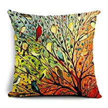 Abstract Trees and Birds Cotton Linen Decorative Throw Pillow Case Cushion Cover, 17.7 x 17.7inches