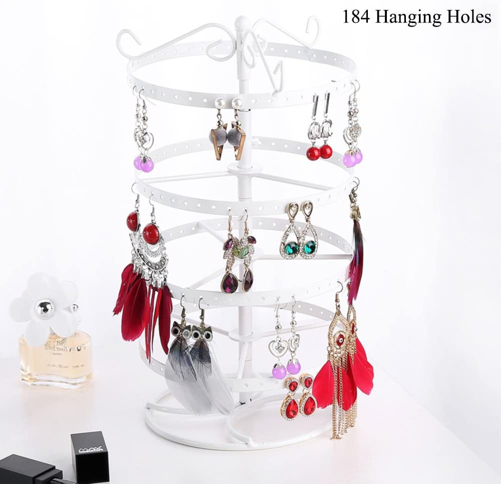 WAYER Metal Jewelry Stand 6x12inch Creative Earring Frame Iron Jewelry Display Rack Earrings Hanging Necklace Rotating Shelf Home Storage-F 15x30cm