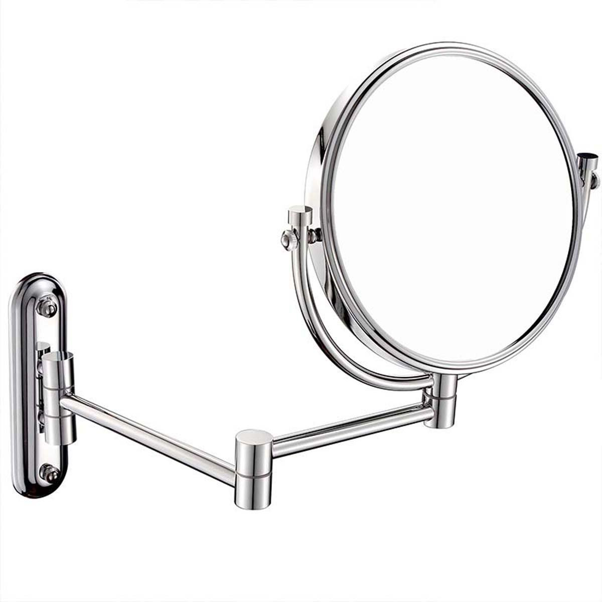 J&A Bathroom Makeup Mirror,Wall-Mounted Folding Creative European Style Makeup Mirror,Foldable 360 Degree Free Rotation 3x Magnification Shaving Mirror Personality Stainless Steel Base