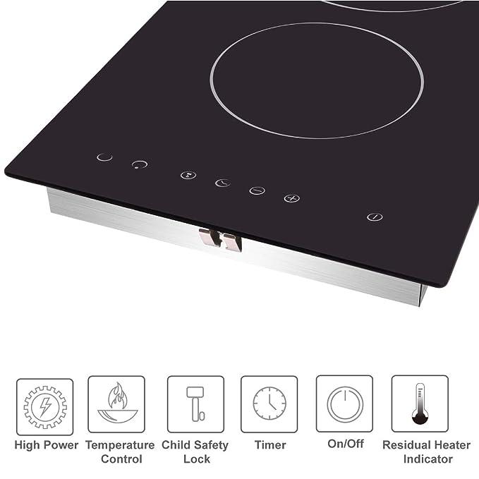 Amazon.com: NOXTON - Cocina de cerámica integrada con 2 ...
