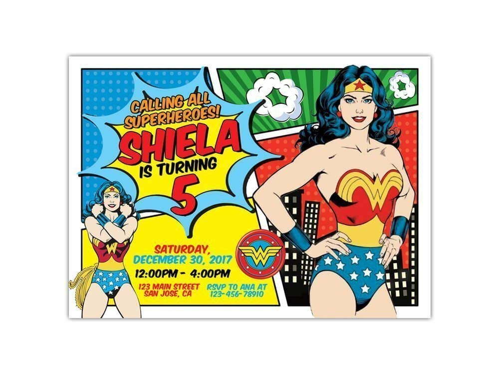 Custom Wonder Woman Birthday Party Invitations For Kids 10pc 60pc 4x6 Or 5x7 Cards With White Envelopes Printed On Premium 265gsm Card Stock