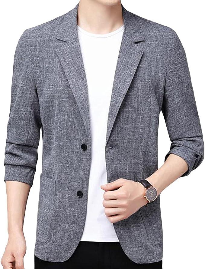(ニカ)テーラードジャケット メンズ スーツ ジャケット 七分袖 アウター ブレザー サマージャケット 綿麻 シンプル 大きいサイズ