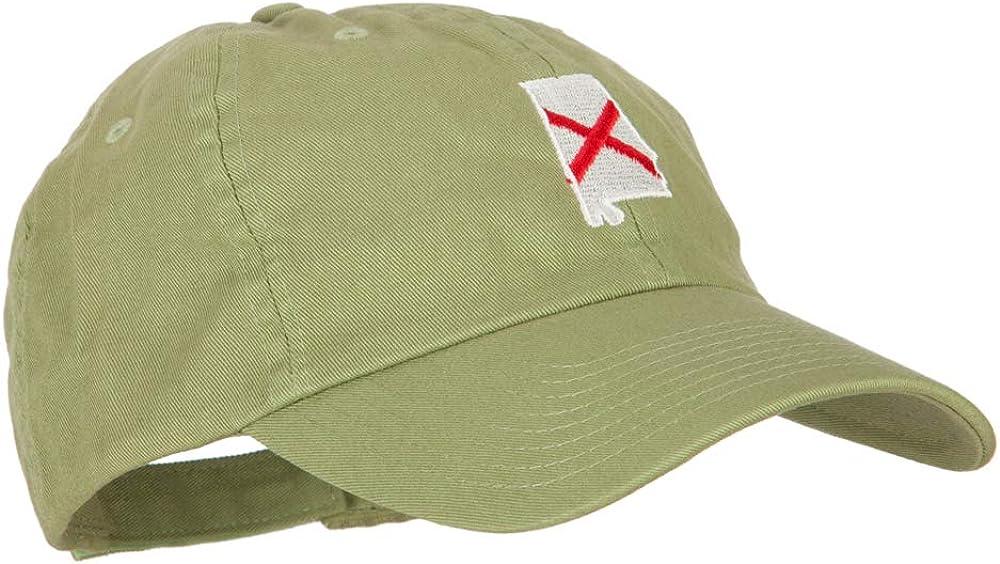 e4Hats.com Alabama State Flag Map Embroidered Low Profile Cotton Cap
