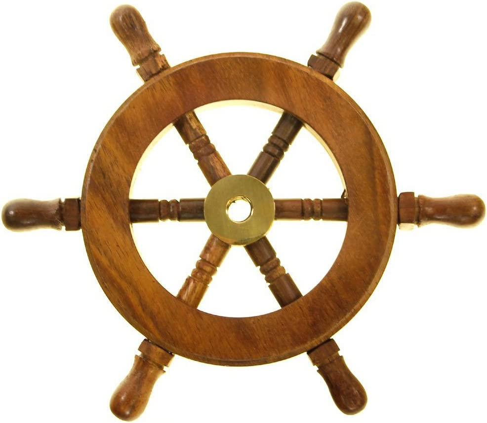 TUP THE URBAN PORT NAU-SH8758 Nautical Wood and Brass Decorative Ship Wheel