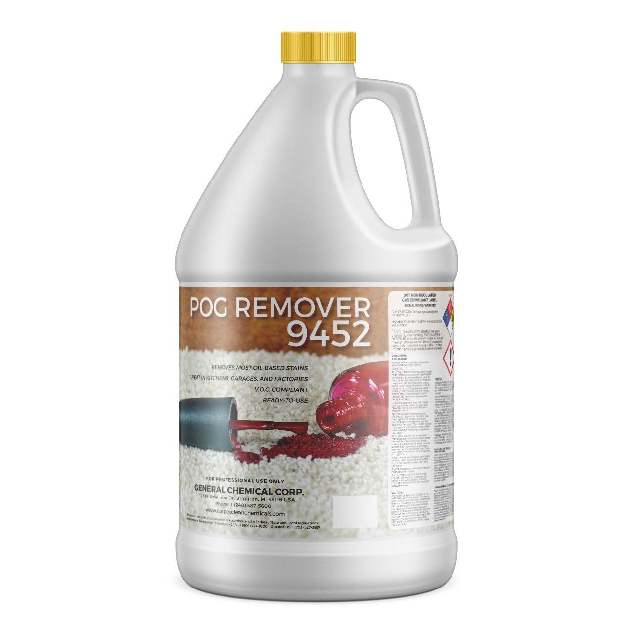 POG Remover by CarpetGeneral | Paint, Oil & Grease Remover | | Multi Purpose Cleaning Liquid | Removes Stains | Heavy Duty | Non-Toxic Formula | Residential, Industrial & Commercial Use | 1 Gal