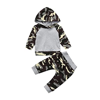2PCS Toddler Baby Boys Girls Clothes Set Camouflage Hoodie Tops+Pants Outfits