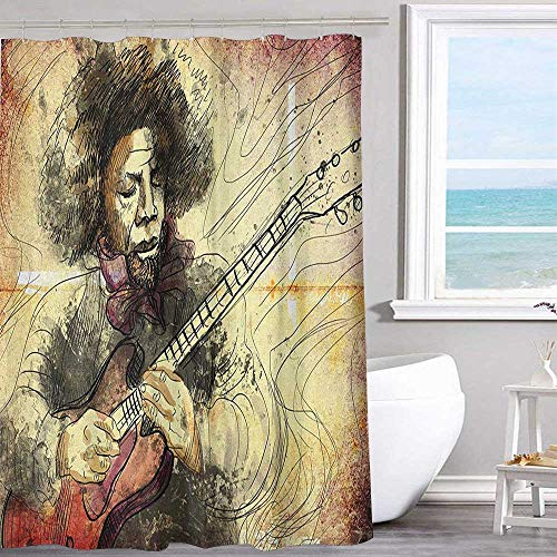 "MKOK Bathroom Shower Curtain 70""x70""inchJazz Music,Guitar Virtuoso Hand Drawn Style Illustration of a Guitar Player Musician Brown Beige Black Bathroom Curtain"