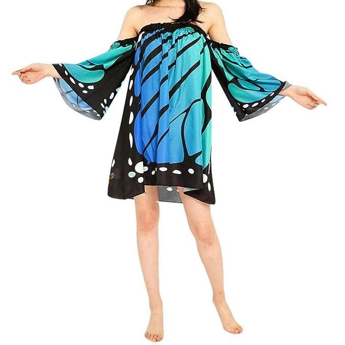Damen Strandkleider Knielang Sommerkleider Schulterfrei Minikleider mit  Schmetterling Druck Off-shoulder Kleider Frauen Boho Chiffon d910f55dda