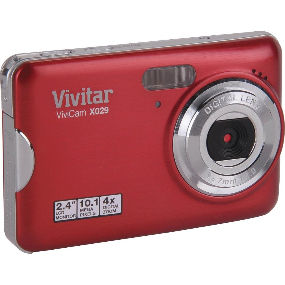 "Amazon.com : Vivitar Vivicam X029 10.1 Megapixel Digital Camera with 4x  Digital Zoom and 2.4"" Viewing Screen - Strawberry finish : Point And Shoot  Digital ..."