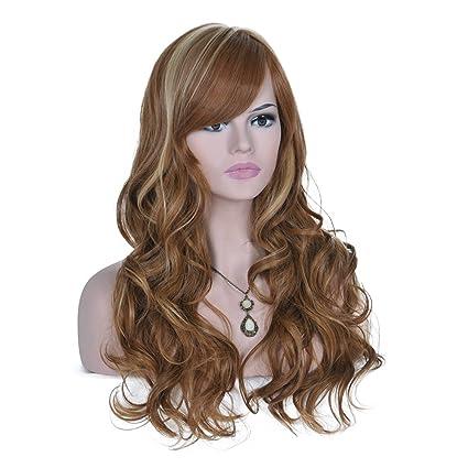 Mujer alta calidad larga peluca. Natural, Full, rizado, ondulado peluca pelucas de