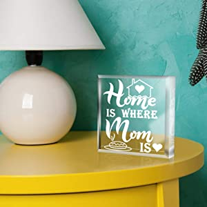 SICOHOME Keepsake and Paperweight,Home is Where Mom is, Mothers' day Gift for Mom from Son Daughter