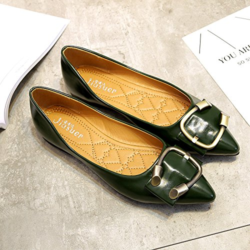 flat buckle thin pointed mouth shallow shoes Green shoes metal Women's xS7Bw