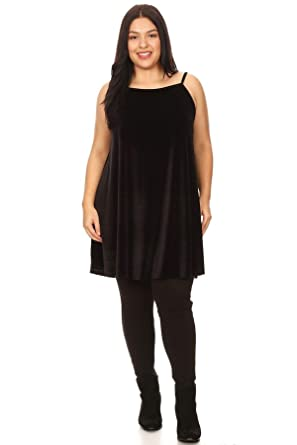 Vibe Sportswear Plus Size Velvet Sleeveless High Neck Trapeze Dress