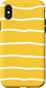 iPhone X/XS Simple Yellow White stripes Bumble Bee Honey Summer Case
