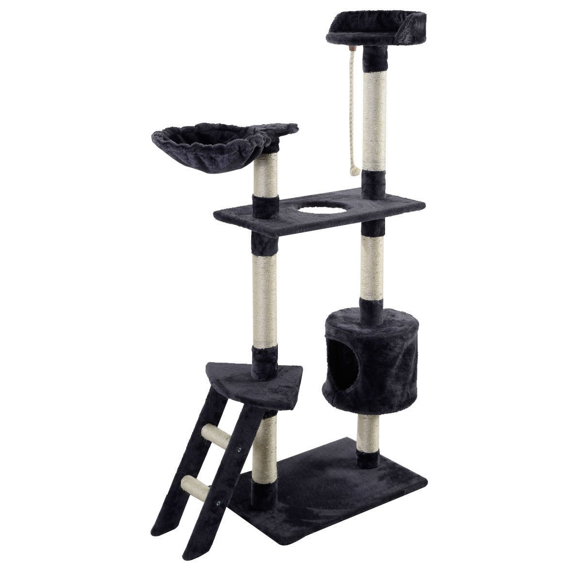 Eight24hours New 60'' Cat Tree Tower Condo Scratcher Furniture Kitten Pet House Hammock Gray + FREE E-Book