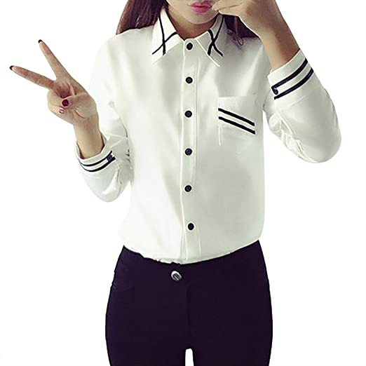 04b5623a3f2f Shouhengda Women Girl Casual T-Shirt Button Down Long Sleeve Blouse Lapel  OL Shirts (