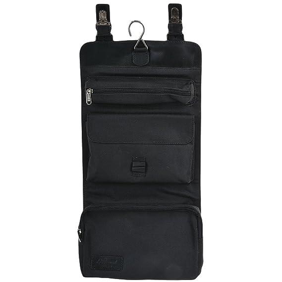e2fb189785 Ashwood Mens Ashwood Phil Leather Hanging Wash Bag Black  Amazon.co.uk   Clothing