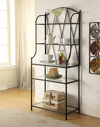 5 Tier Black Metal Glass Shelf Kitchen Bakers Rack Scroll Design