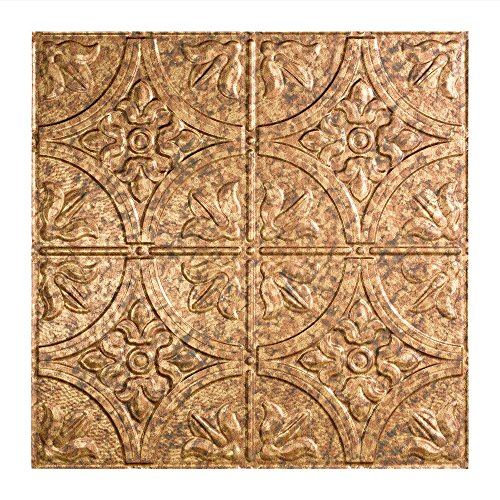 Fasade Easy Installation Traditional 2 Cracked Copper Lay In Ceiling Tile / Ceiling Panel (2' x 2' Tile) by FASÄDE