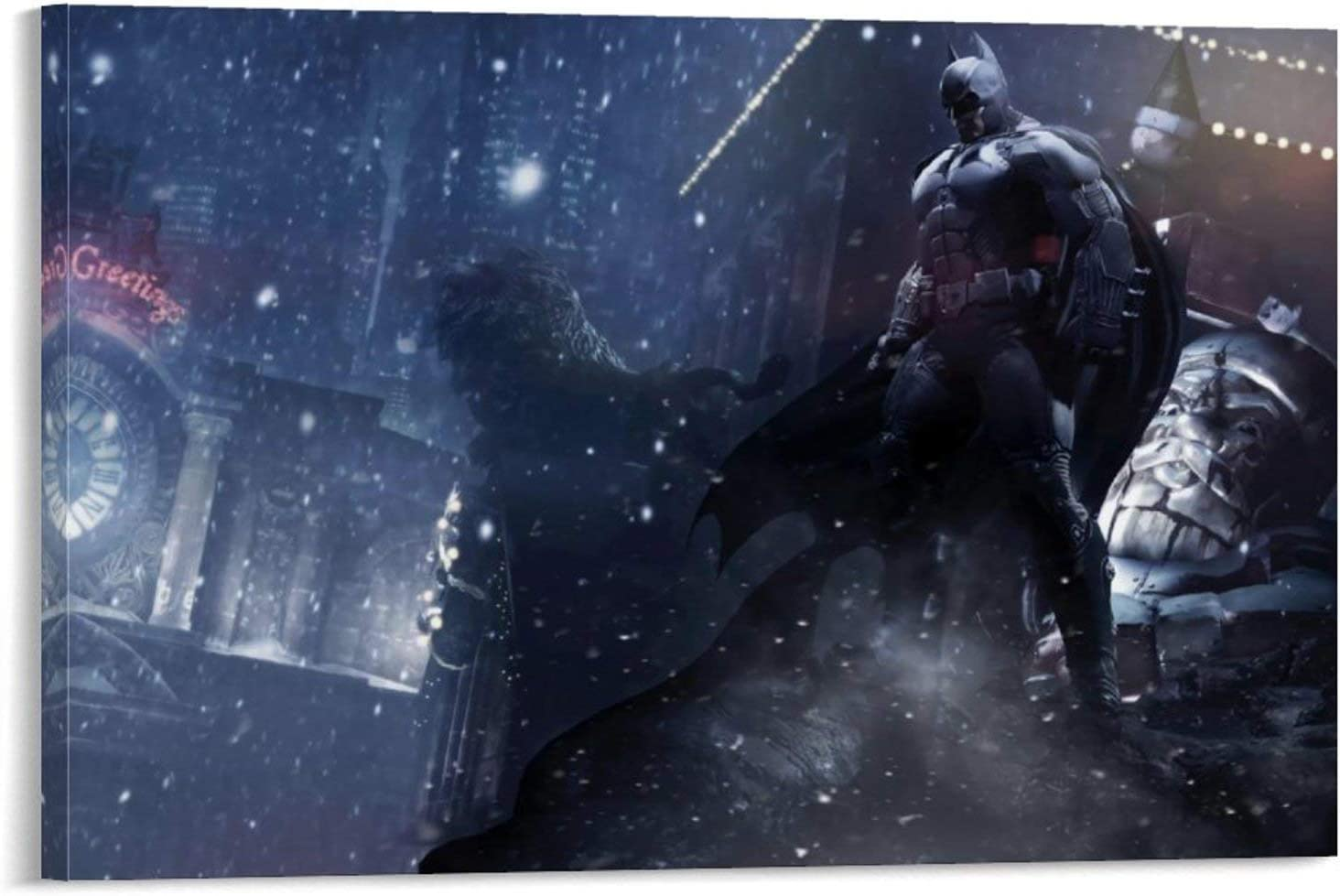 SSKJTC Cuadro sobre lienzo de Batman Arkham City Game Town at Night Modern Living Room Abstracto Canvas 40 x 60 cm