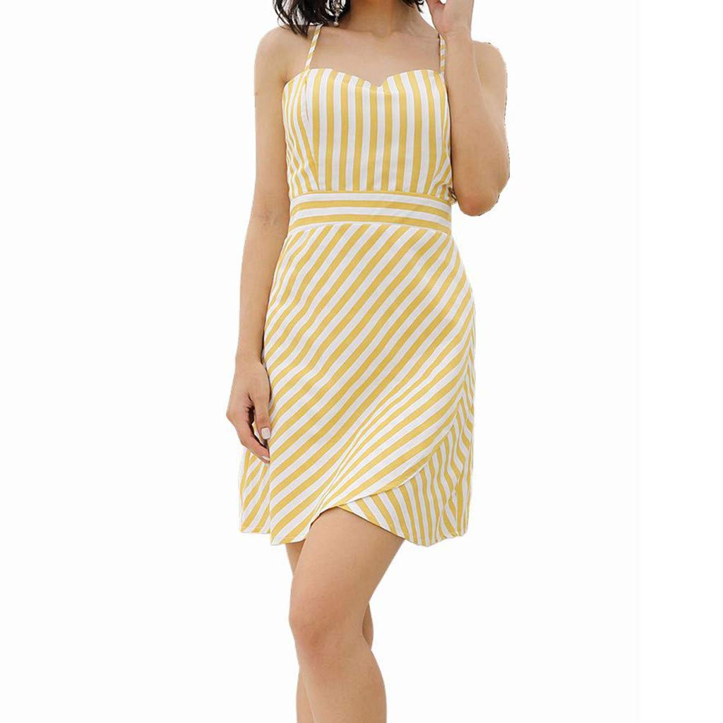Women Stripe Cami Dress - Ladies Boat Neck Sleeveless Spaghetti High Waist Mini Dresses - Elegant Back Crisscross Beach Daily Clothes (L, Yellow) by Leadmall Dress (Image #1)