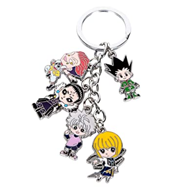 HomMall Hunter X Hunter Keychain Metal Figures Pendants Doll Japanese Anime Key Rings: Office Products