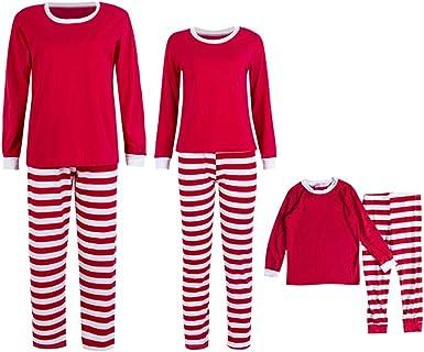 LONMEI Pijamas Familiares de Navidad - Mujer Hombre Niños Dos Piezas Rojo Verde Navidad Estilo Raya Algodón Talla Grande Manga Larga Pantalones Familiar Ropa de Dormir: Amazon.es: Ropa y accesorios