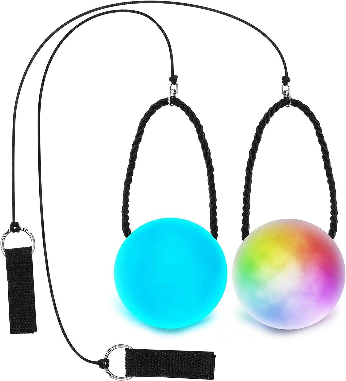 Sumind 2 Piezas Bolas de POI LED, Juguete de Bola Flow Giratoria de Luz, Bolas de POI de Luz Multicolor