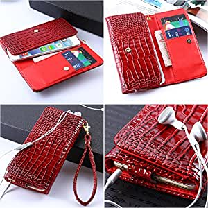 Retro Women Girl Universal Crocodile Leather Wallet Case For iPhone 4S 5 5S 6 4.7 Plus 5.5 For Galaxy S5 S4 S3 mini PU Luxury --- Color:Black