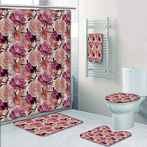 Bathroom 5 Piece Set Shower Curtain 3D Print Multi Style,House Decor,Floral Pattern with Roses Classic Decorative Girly Ornamental Old Fashioned Art Decorative,Bath Mat,Bathroom Carpet - Dawn House Style Rose