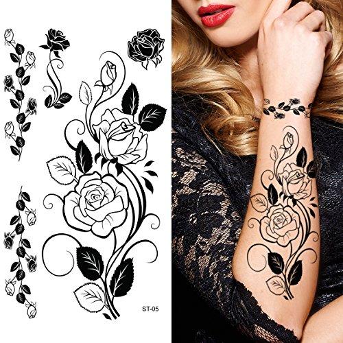 St05 Rose - Supperb Temporary Tattoos - Black Tribal Rose