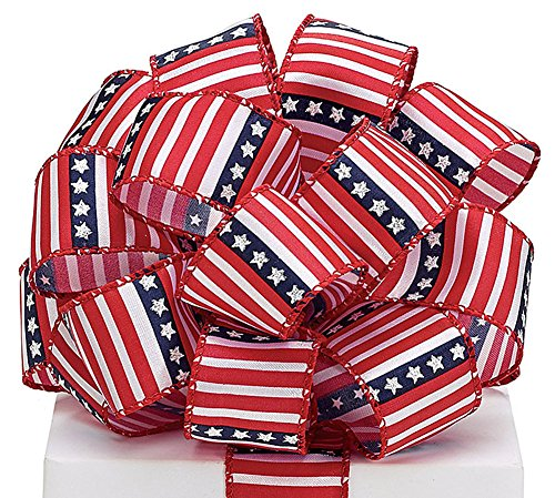 (#9 Stars and Stripes Patriotic Wired Ribbon 20yds)
