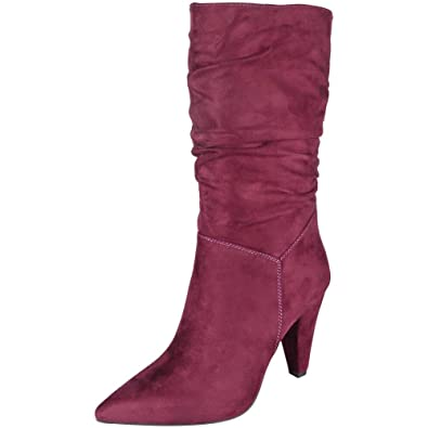 3976a210aa6 Womens Mid Calf Boots Faux Suede Ladies Rouched Pixie Slouch High ...
