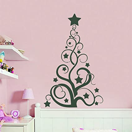 merry christmas wall decals vinyl decal abstract tree art sticker home decor removable stylish mural unique