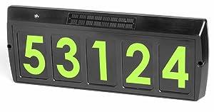 Gama Sonic GS-80G Solar Powered Illuminated 5-Character Customizable Address Sign, Green LED, Black