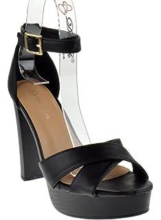 4f0605a4036 Top Moda Toby 3 Womens Cross Strap Open Toe Chunky Heel Platform Sandals