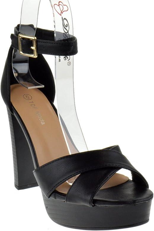 db00d8f30a8 Toby 3 Womens Cross Strap Open Toe Chunky Heel Platform Sandals