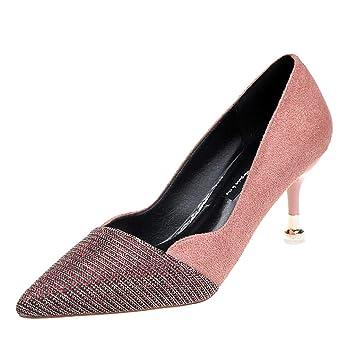 LuckyGirls Zapatos de Tacón de Aguja de Mujer Lentejuelas Patchwork Slip On Moda Casuales Zapatos de Fiesta Zapatillas Boda 7cm: Amazon.es: Deportes y aire ...