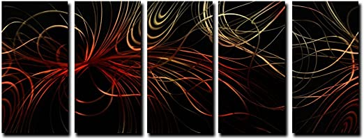 Modern Abstract Metal Wall Art Contemporary Accent Painting Orange Home Decor