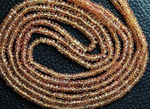 Natural Padparadscha Sapphire - 18 Inches Strand, Super Wholesale Price, Natural Orange Padparadscha Sapphires Sapphire Faceted Rondelles 3-2.5mm by Gemswholesale