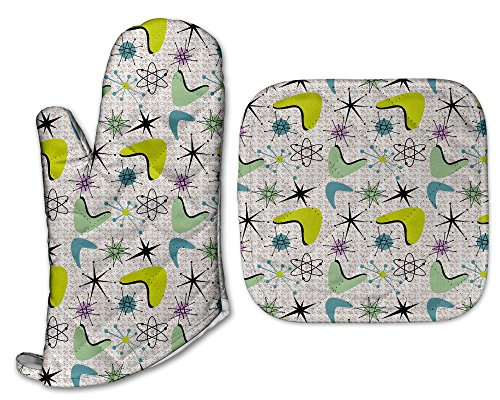 Mid Century Modern Atomic Starburst Kitchen Retro Pot Holder & Oven Mitt (Vintage Holders Pot)