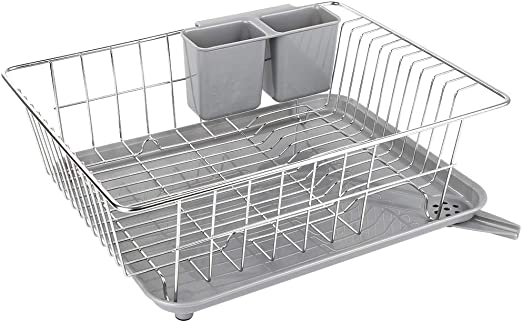 WHITGO Dish Drying Rack with Drain Board, Stainless Steel Dish Drainer  Drying Rack with Utensil Holder for Kitchen Counter, Dish drain rack with  One ...