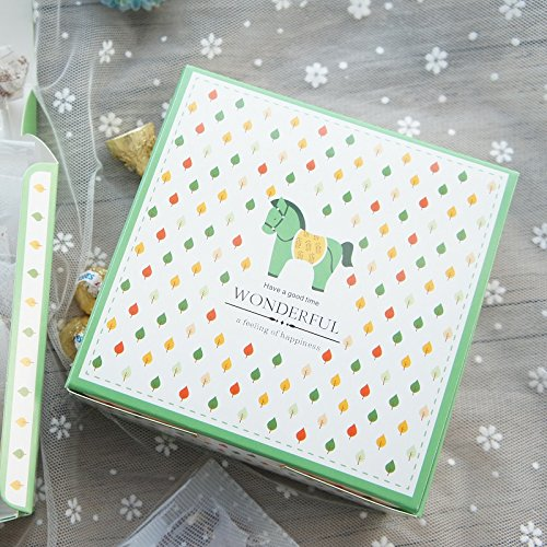 Lavenz Pretty horse Design Paper Box Goft for Cookie Chocolate Candy Perfect for Christmas, Birthday Party and Lovely Occasions. (Set of 10)