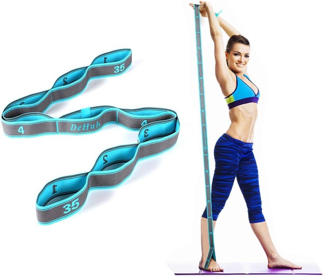 DeHub Bandas Elasticas Fitness, Banda de Estiramiento para Ni&Ntilde s y Adultos, Banda Elástica de Resistencia para Pilates,Yoga,Fitness,Gimnasia,Crossfit y Danza.