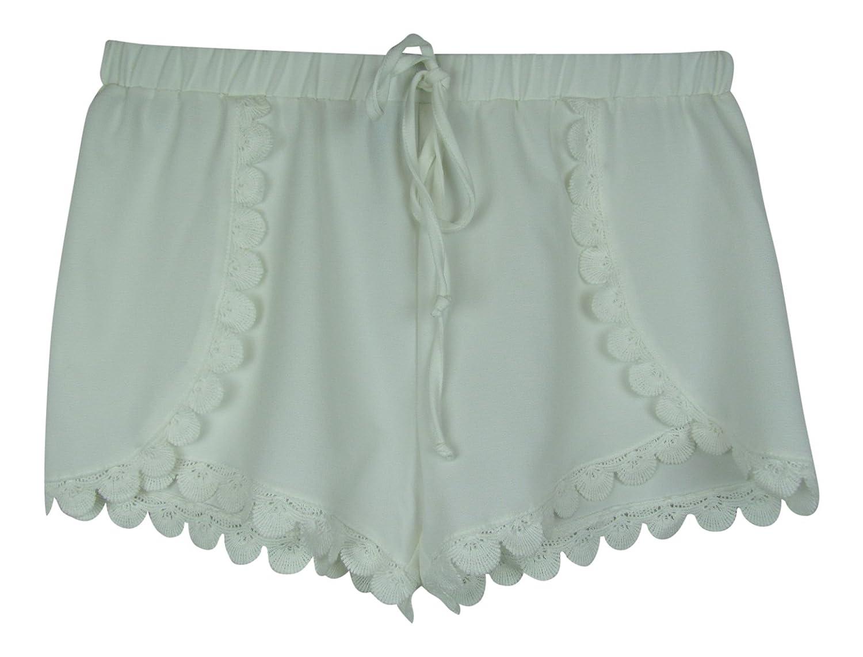 Aqua Womens Contrast Crochet Shorts