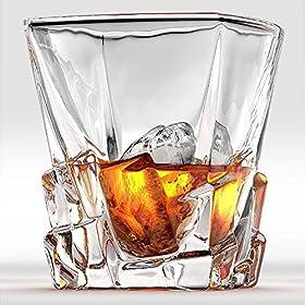 Ashcroft Crystal Iceberg Whiskey Glass Set, High End Whiskey Glasses Set of 2, Best Whiskey Glasses,