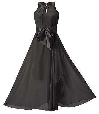 Howriis Womens Black Chiffon Halter Irregular Hem Formal Maxi Dress (8/10, Black
