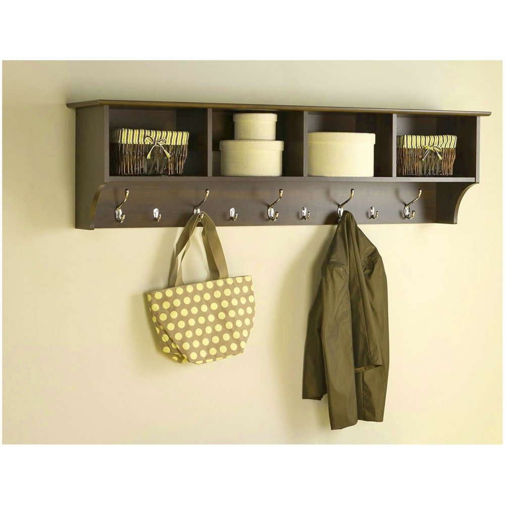 Amazon.com: Wall Mount Shelf Organizer Storage Cubes 9 Metal Hooks ...