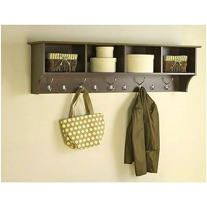 Amazon.com: Wall Mount Shelf Organizer Storage Cubes 9 Metal Hooks ...